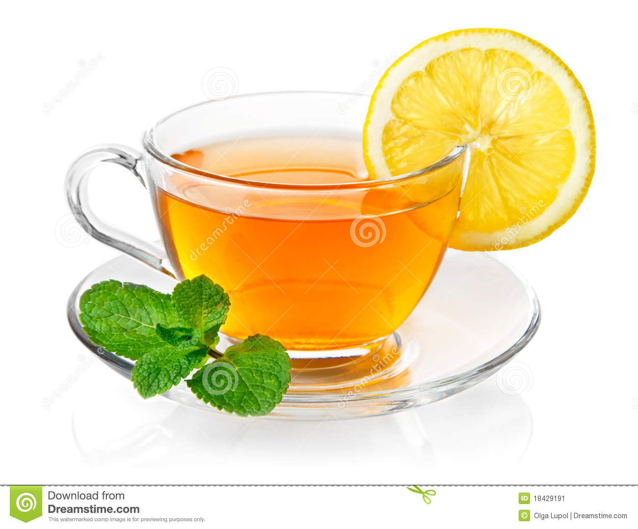 Tea in cup with leaf mint and lemon