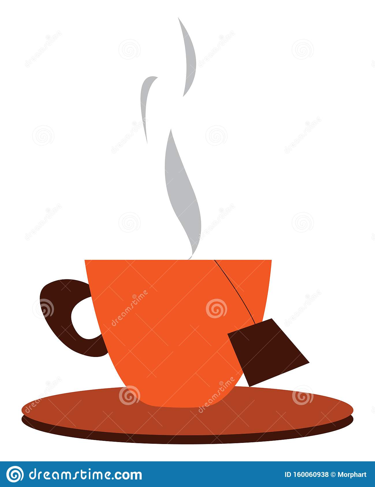A Tea Cup And Saucer With Hot Tea And A Dip Tea Bag Vector Color Drawing Or Illustration Stock Vector Illustration Of Drink Plate 160060938