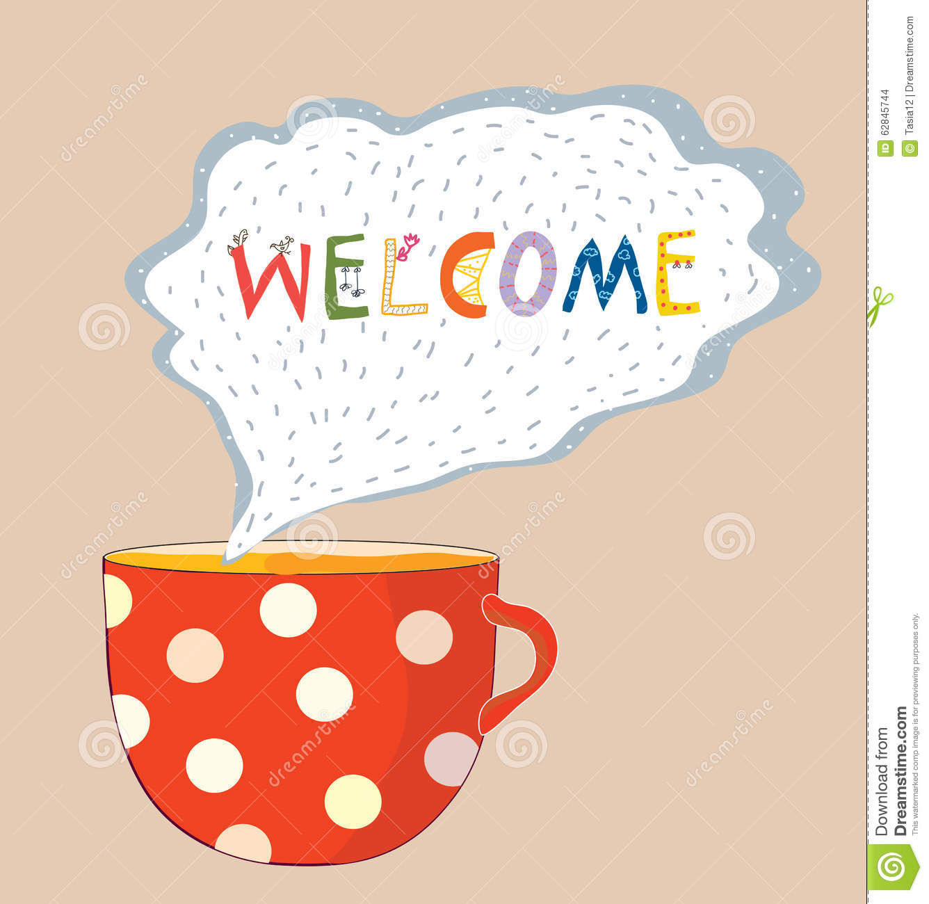 Tea Cup Welcome Card - Cute Design Stock Vector - Image: 62845744