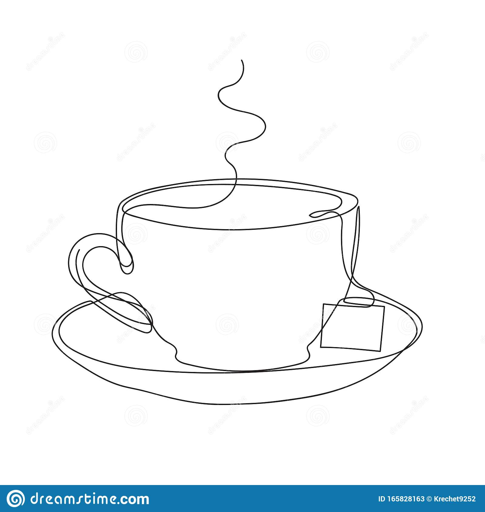Tea Cups And Saucer And Tea Bag Minimalist Style Graphics Stock Vector Illustration Of Figure Graphics 165828163
