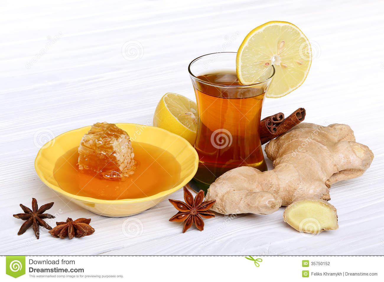 Tea With Ginger, Honey, Lemon And Spices Stock Photography - Image ...