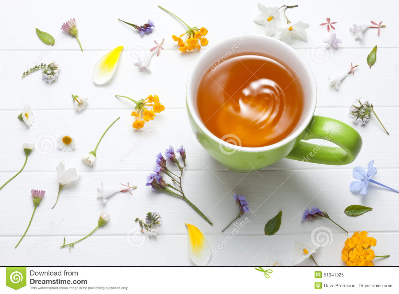 Tea Herbal Green Cup Flowers