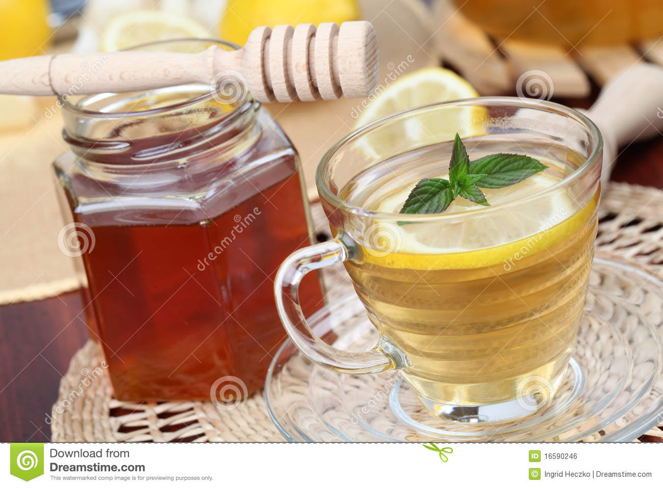 Tea With Honey And Lemon Royalty Free Stock Image - Image: 16590246