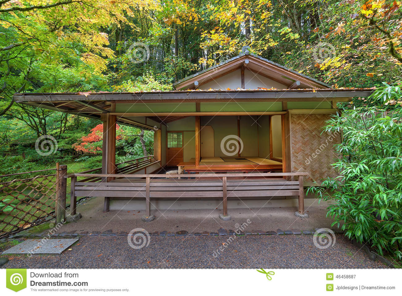 Tea house at japanese garden in fall seaston stock photo for Japanese house garden