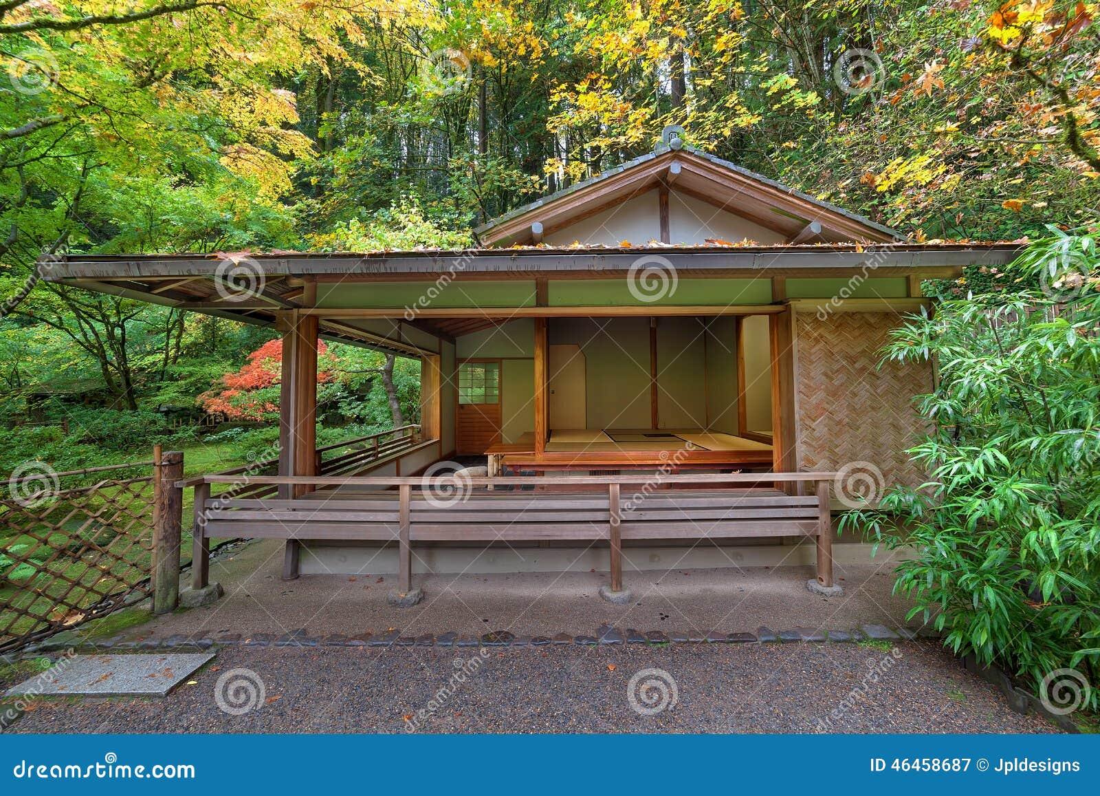 Tea House At Japanese Garden In Fall Seaston Stock Image - Image of ...