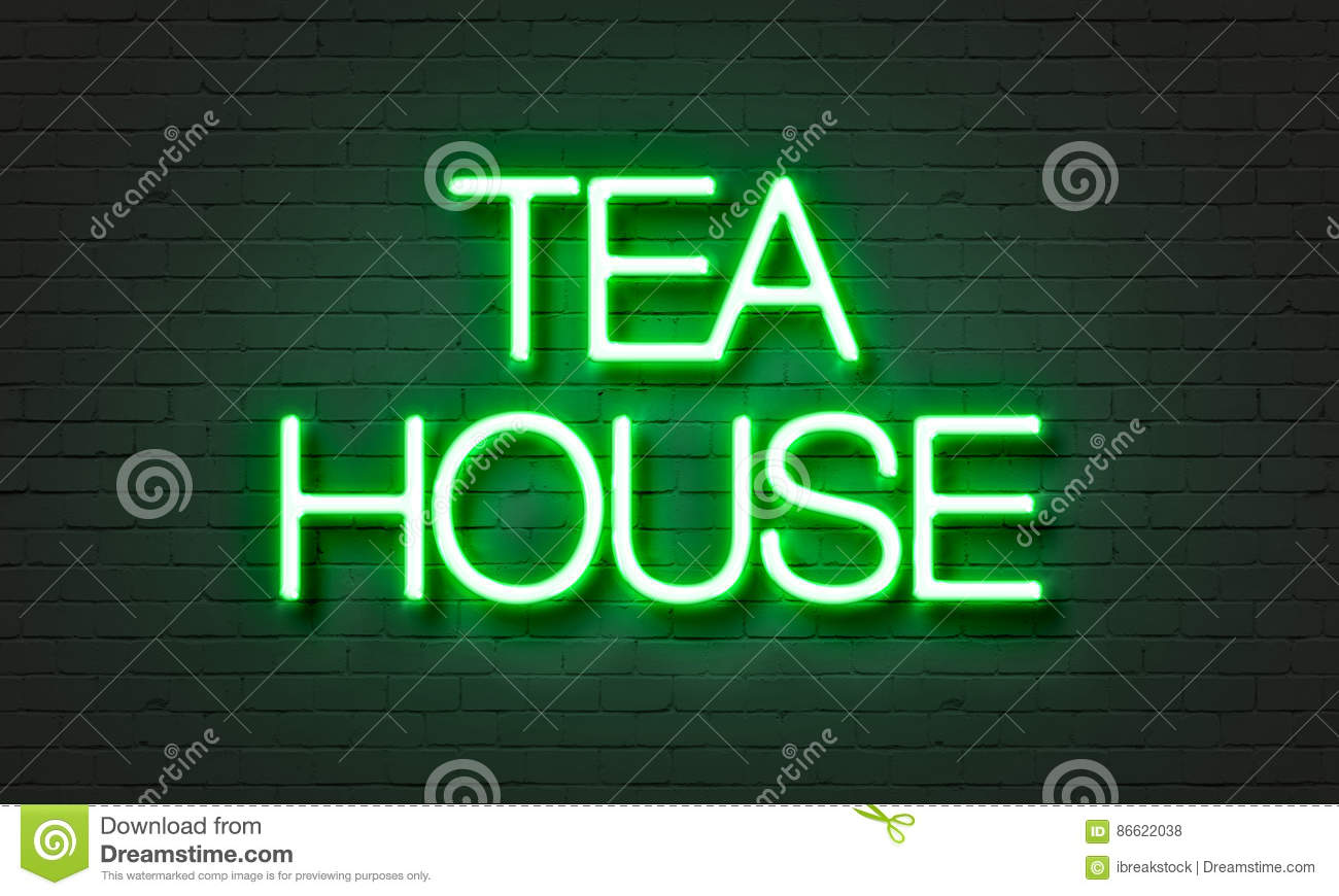 Tea house neon sign on brick wall background.