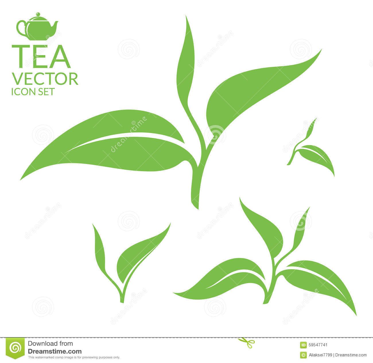 Tea. Leaves On White Background Stock Vector ...