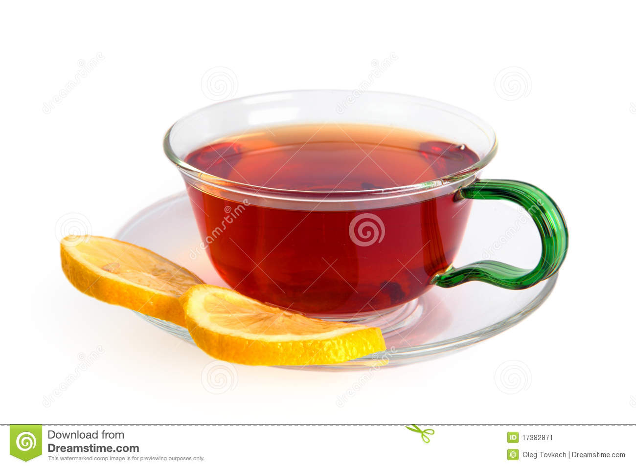 Tea with a lemon in a glass cup