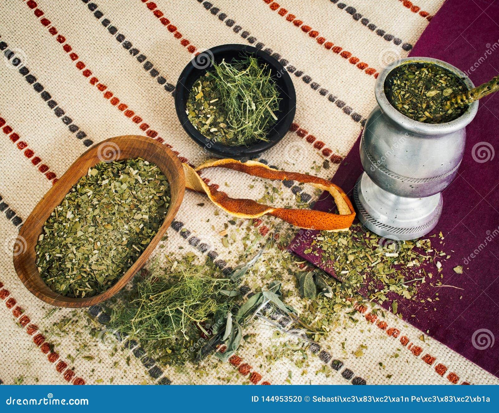 Mate tea with various herbs and orange peel