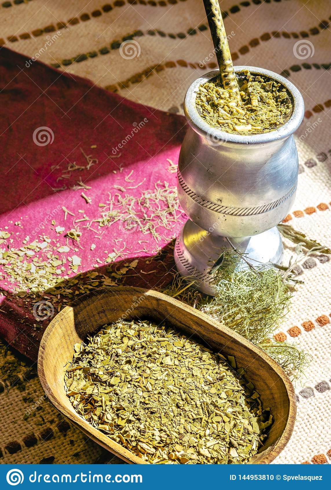 Mate tea with various herbs,