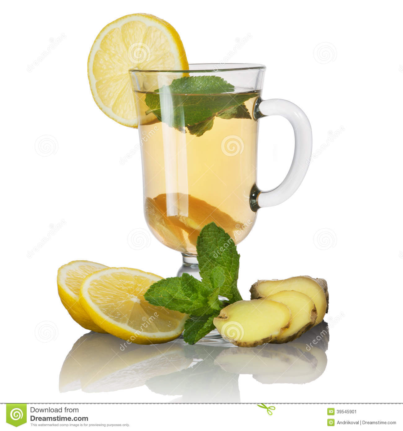 Tea with mint and lemon and ginger