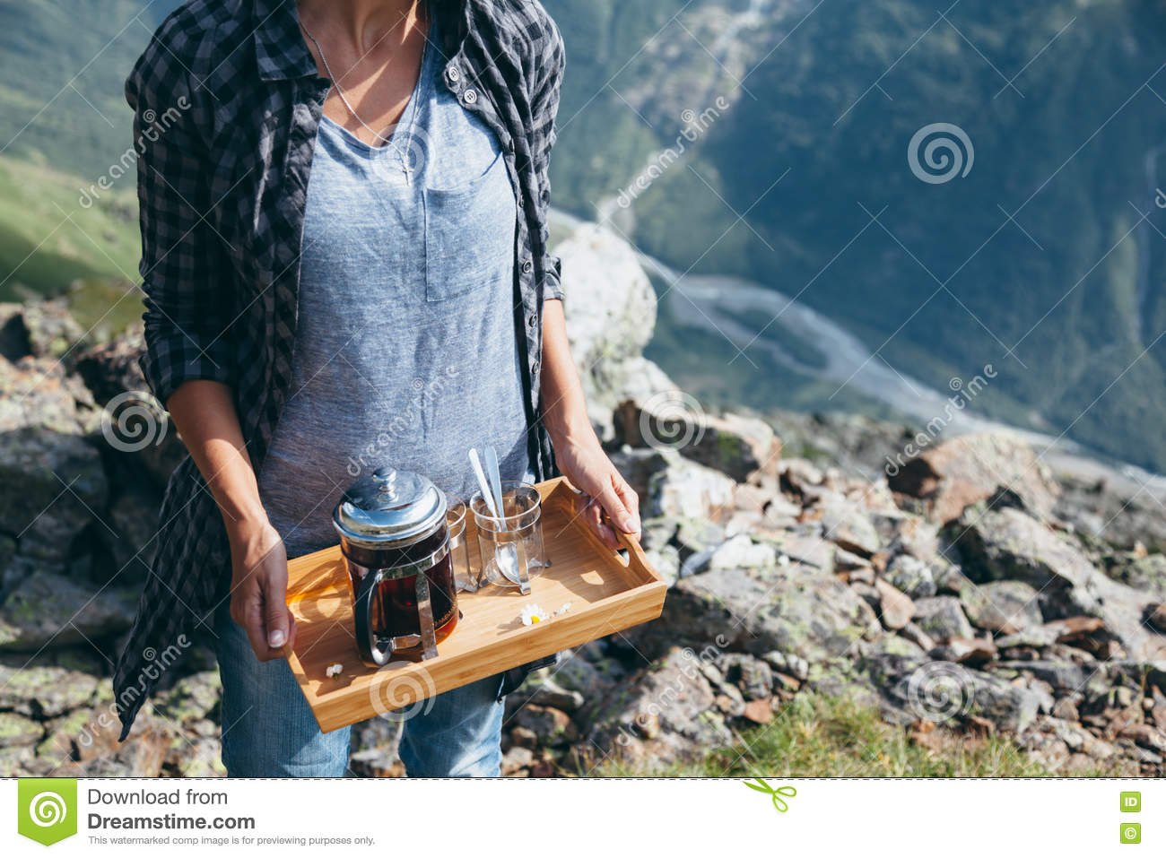 Amazing Tea In Mountains Stock Image Image Of Leisure Hill 77871033 Beutiful Home Inspiration Aditmahrainfo
