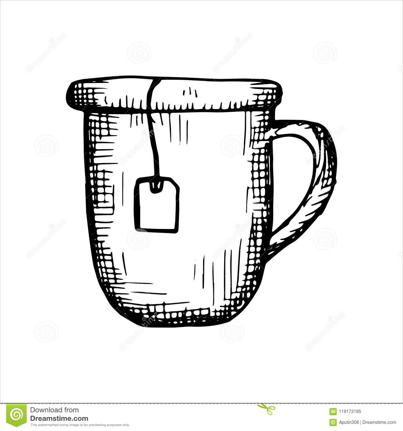 Tea Mug Vector Sketch Icon Isolated On White Background Stock Vector Illustration Of Grass Icon 119173195