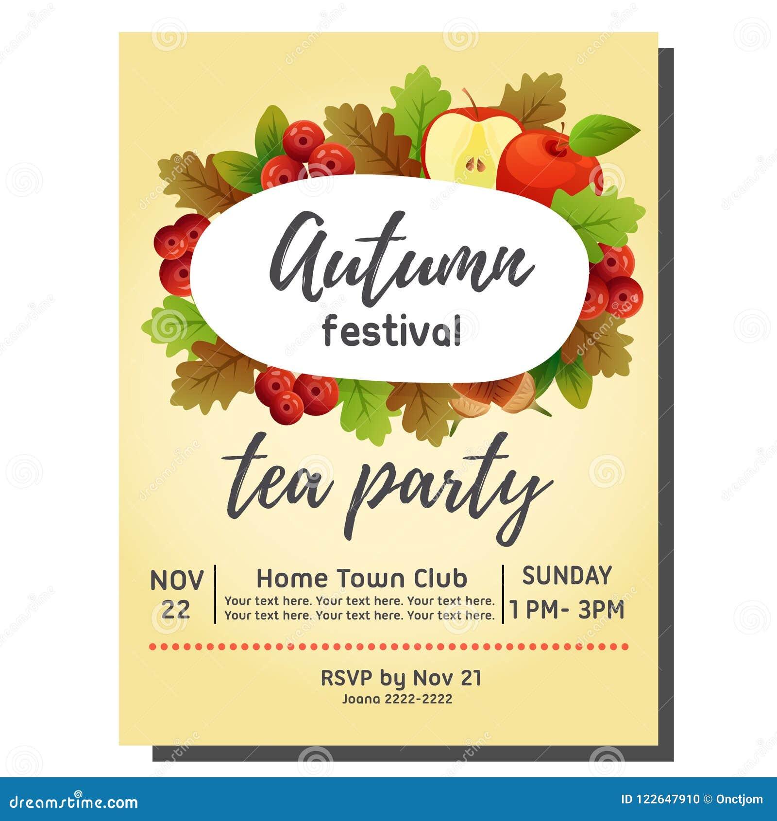 Tea Party Autumn Invitation Card With Apple Stock Vector