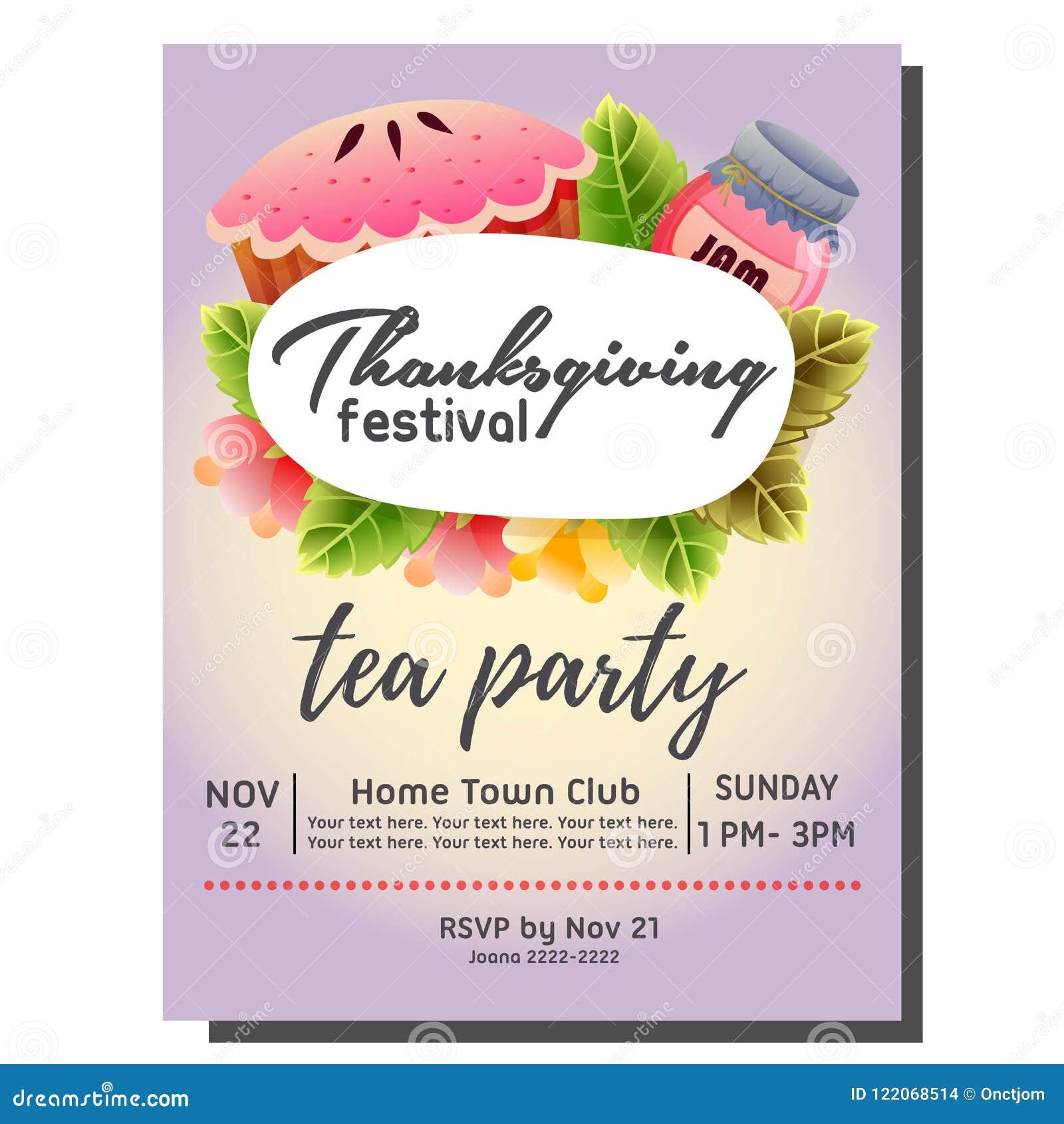 Tea Party Autumn Invitation Card With Pie Cake Stock Vector