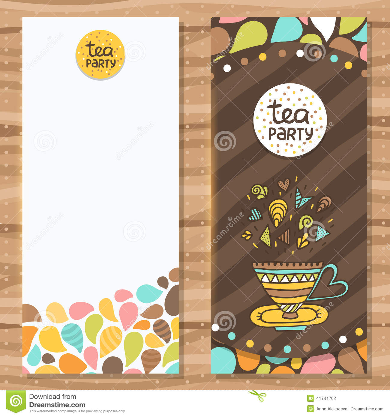 tea party brochure template cute flyer design stock vector