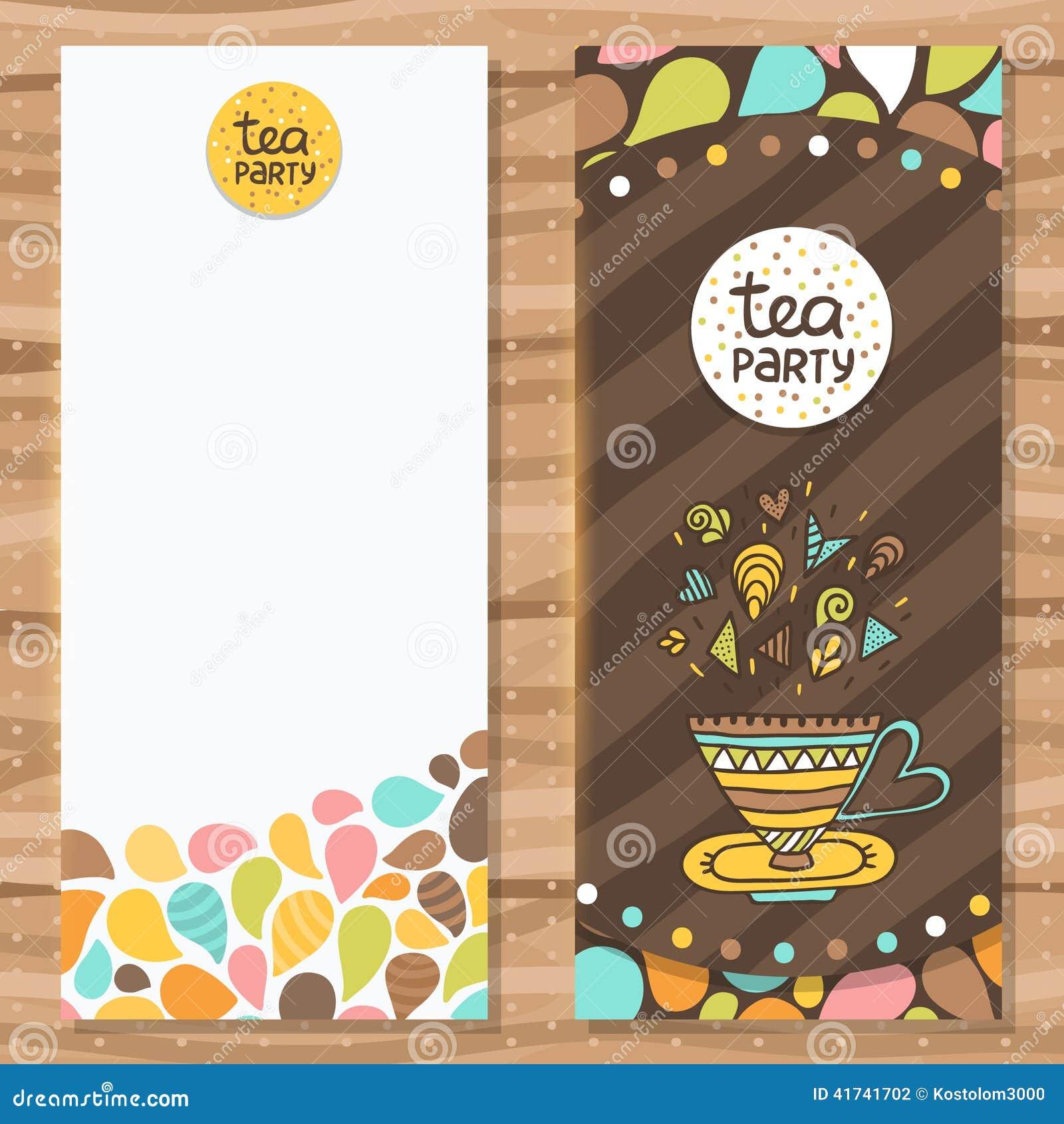 tea party brochure template  cute flyer design  stock