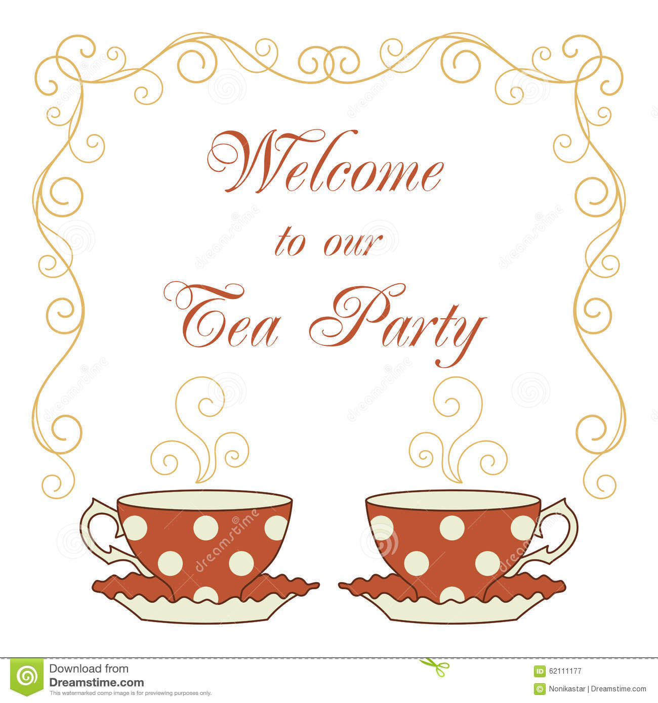 Elegant tea party invitation template with teacups cartoon vector - Card Curly Dot Drawn Frame Greeting Hand Illustration Invitation Message Our Party Polka Tea Teacups