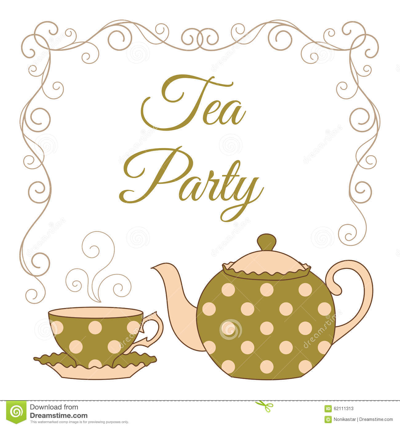 Tea Party Card Stock Vector Image 62111313