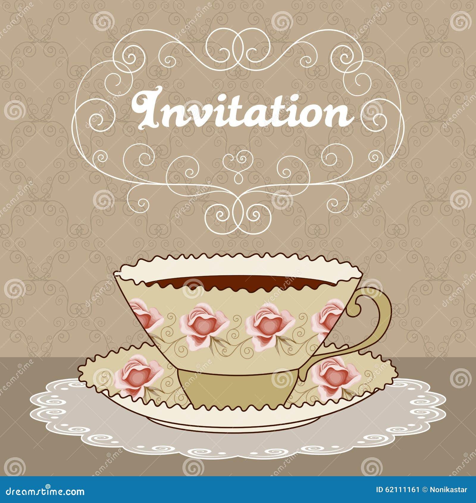 Elegant tea party invitation template with teacups cartoon vector - Tea Party Card Stock Image