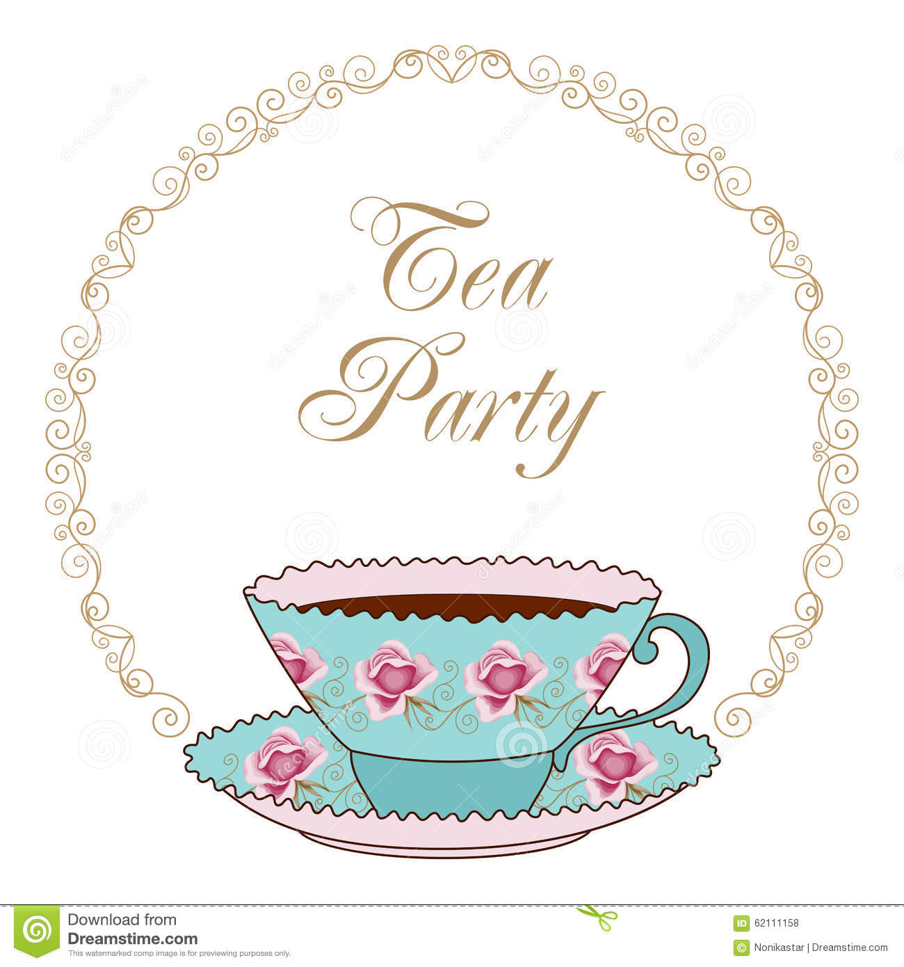 tea party card stock vector illustration of decorative 62111158