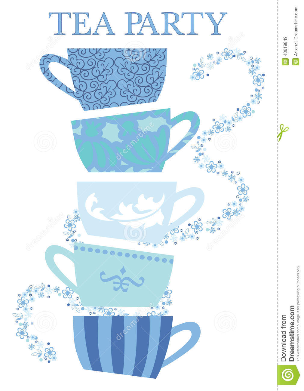 Tea Party Cups Stock Vector - Image: 43618849