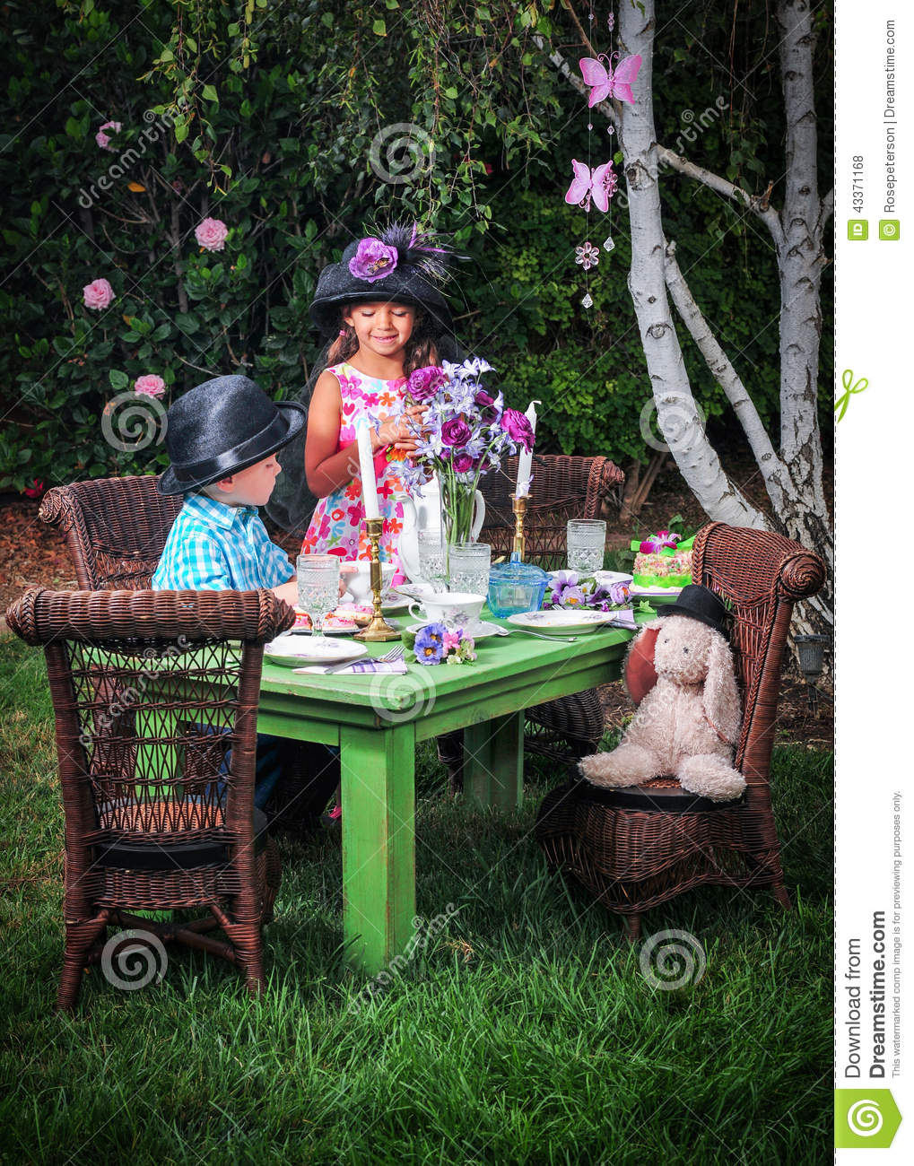 Tea party in the garden stock photo image 43371168 for Gardening tools for 6 year old
