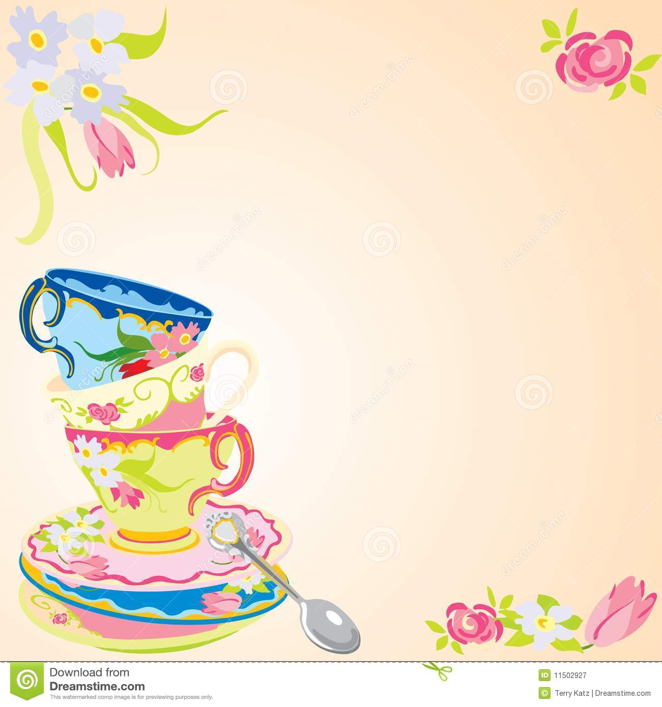 Tea party invitation. stock vector. Image of spoon, copy - 11502927