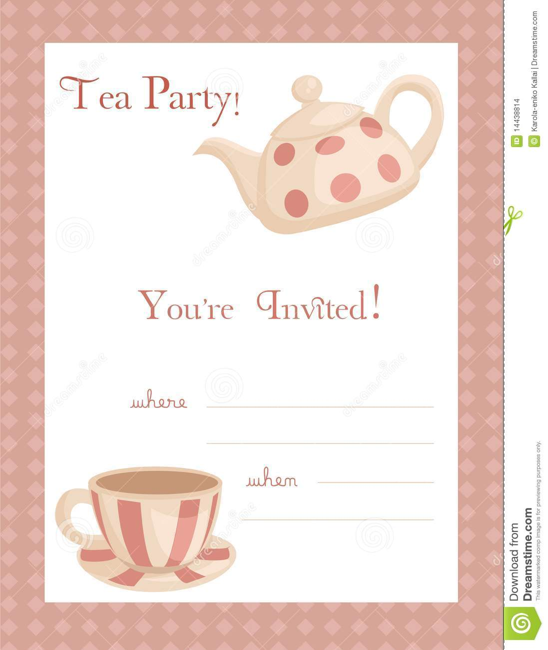 Tea party invitation stock vector illustration of for Tea party menu template