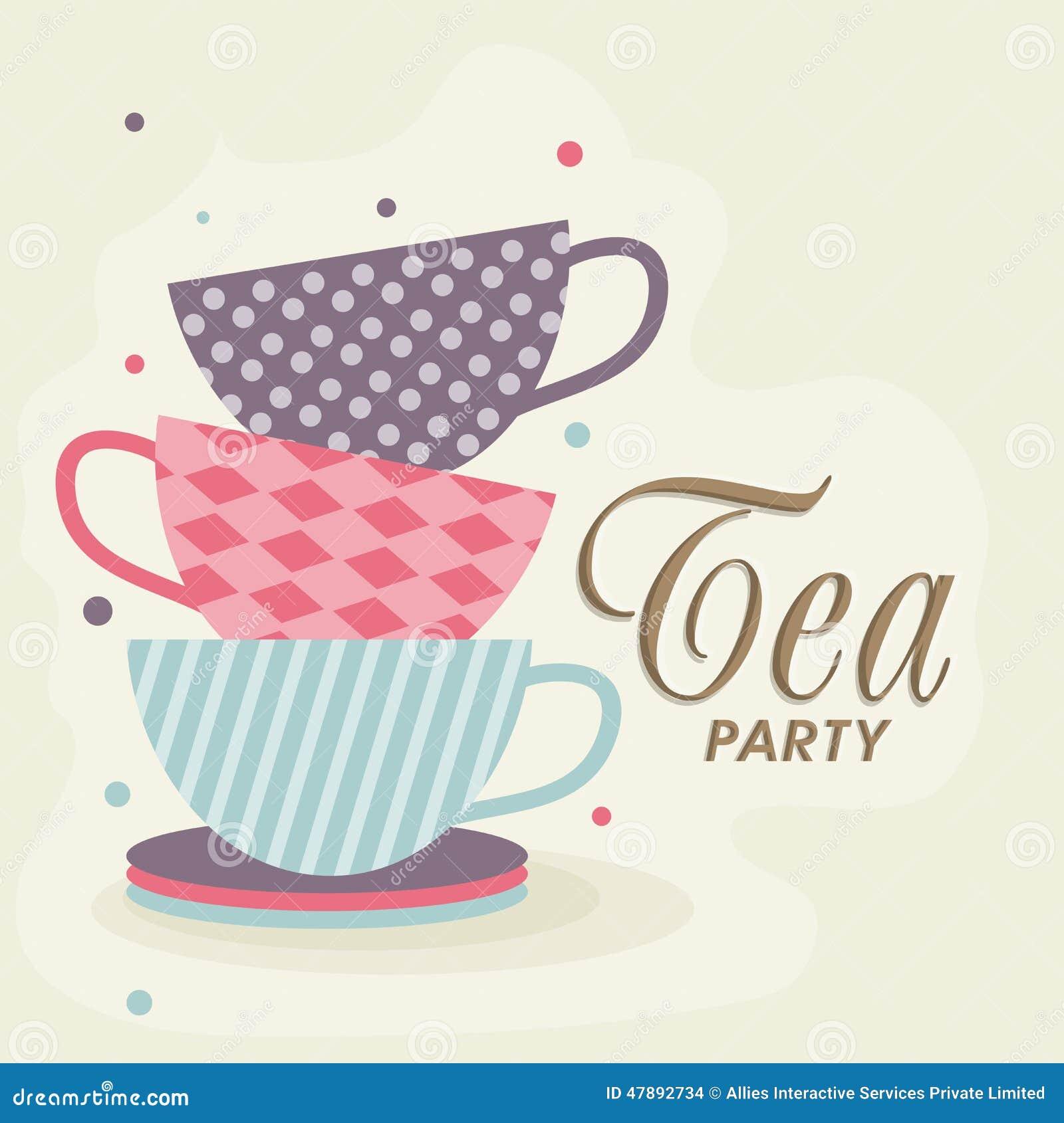 Tea Party Invitation Card Stock Illustration Illustration Of Drink