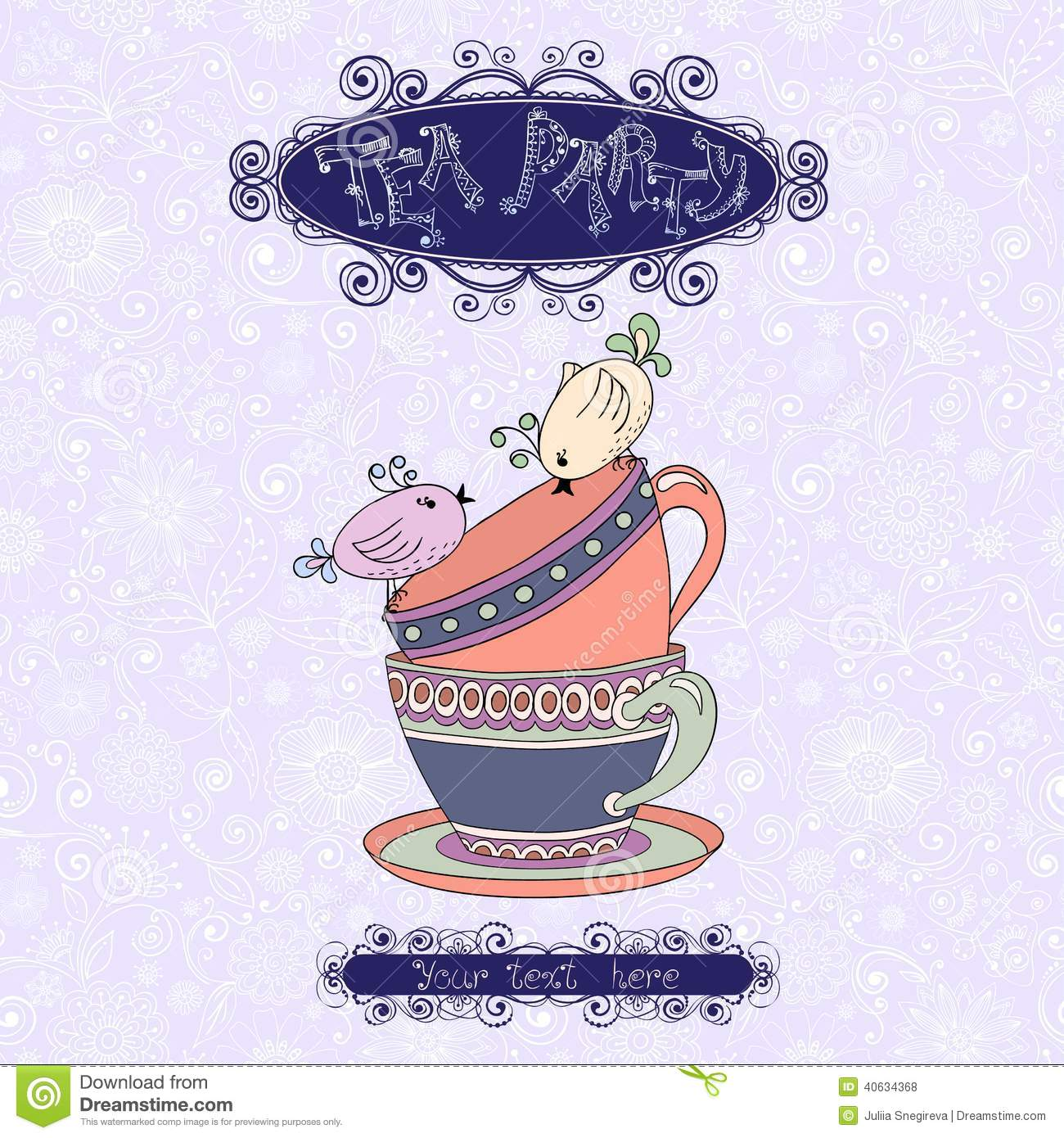 Tea Party Invitation Template Vector Image 51578938 – Tea Party Invitation Template
