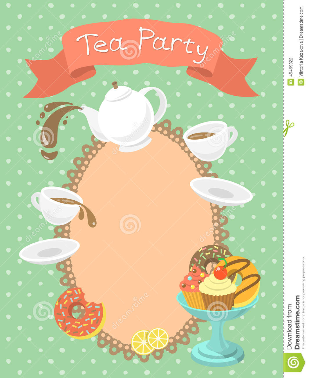 Tea Party Invitation Stock Vector Illustration Of Blank