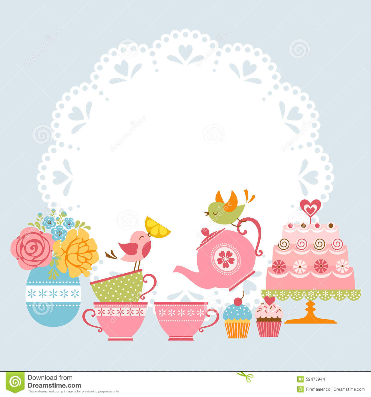 tea party invitation stock vector illustration of flowers 52473944