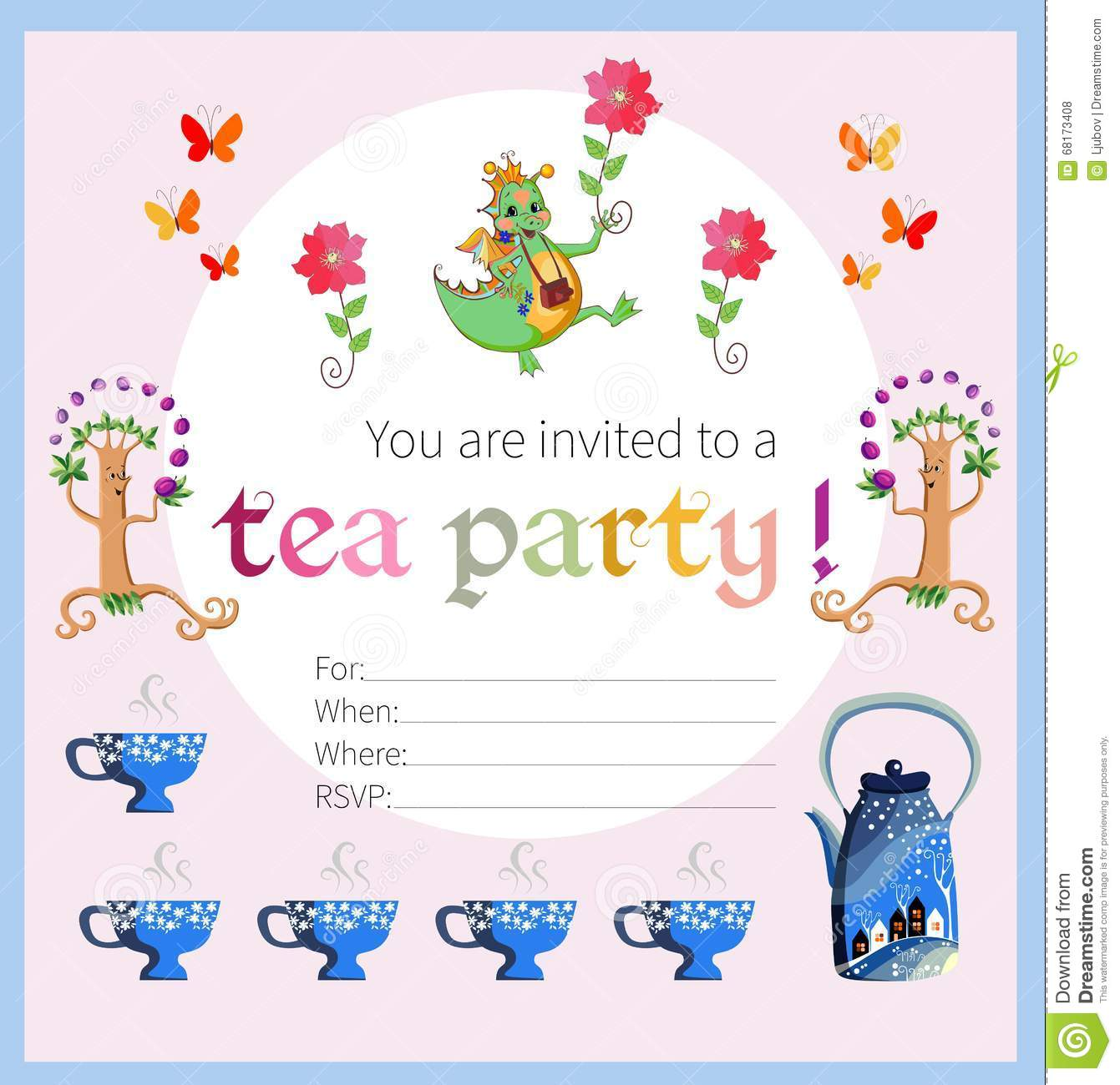 Tea Party Invitation For Kids Vector Image 68173408 – Kids Tea Party Invitations
