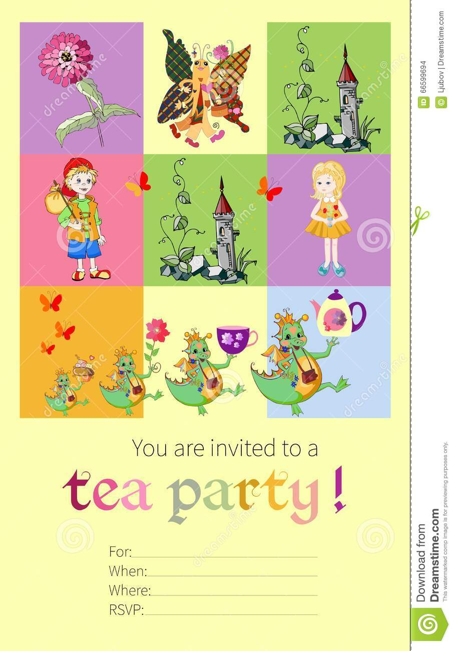 Tea Party Invitation For Kids With Fairy Creatures Stock Vector