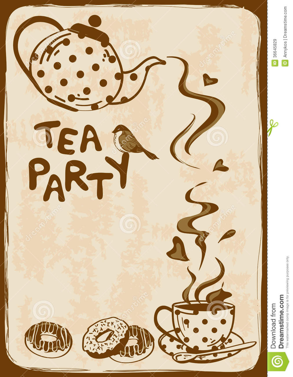 Tea Party Invitation With Teapot And Teacup Royalty Free ...