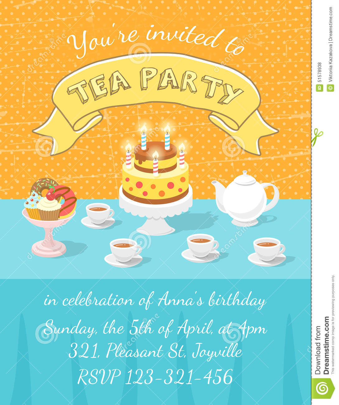 tea party invitation template stock vector illustration of card