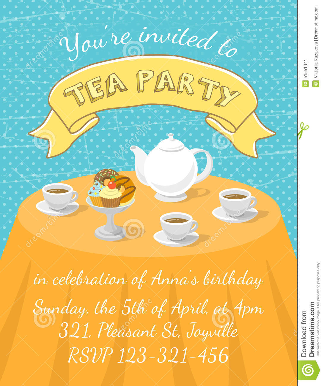 Tea party invitation template stock vector illustration for Tea party menu template