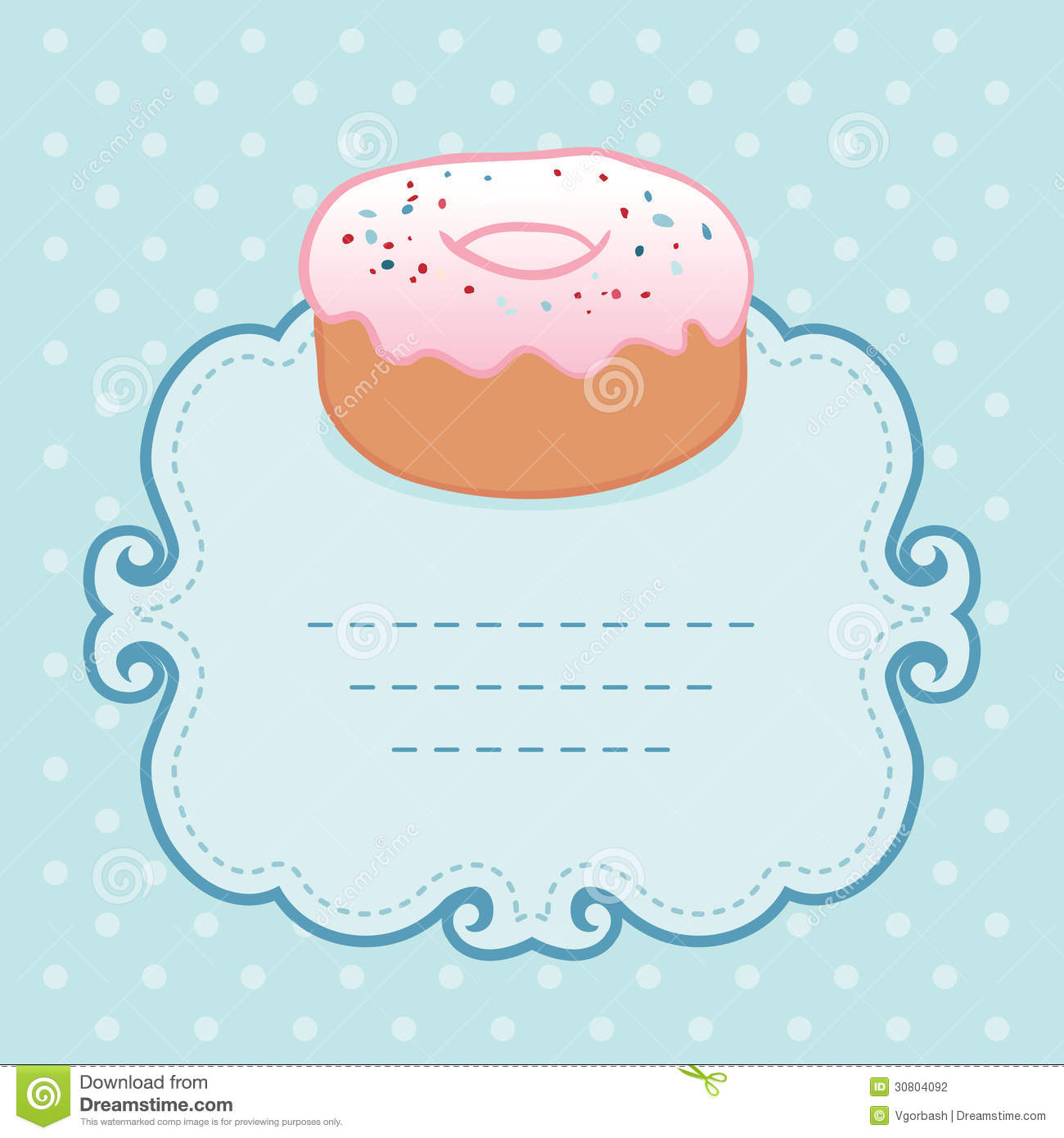 Tea Party Invitation Vintage Style Frame With Donut Stock ...