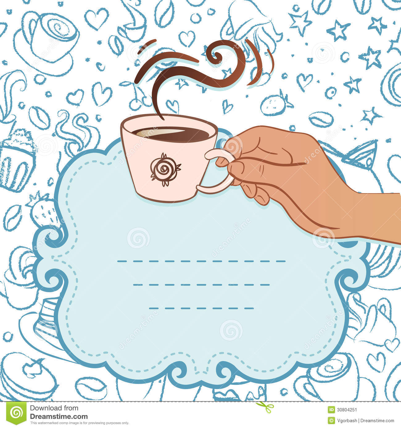 Tea Party Invitation Vintage Style Frame With Hand Holding