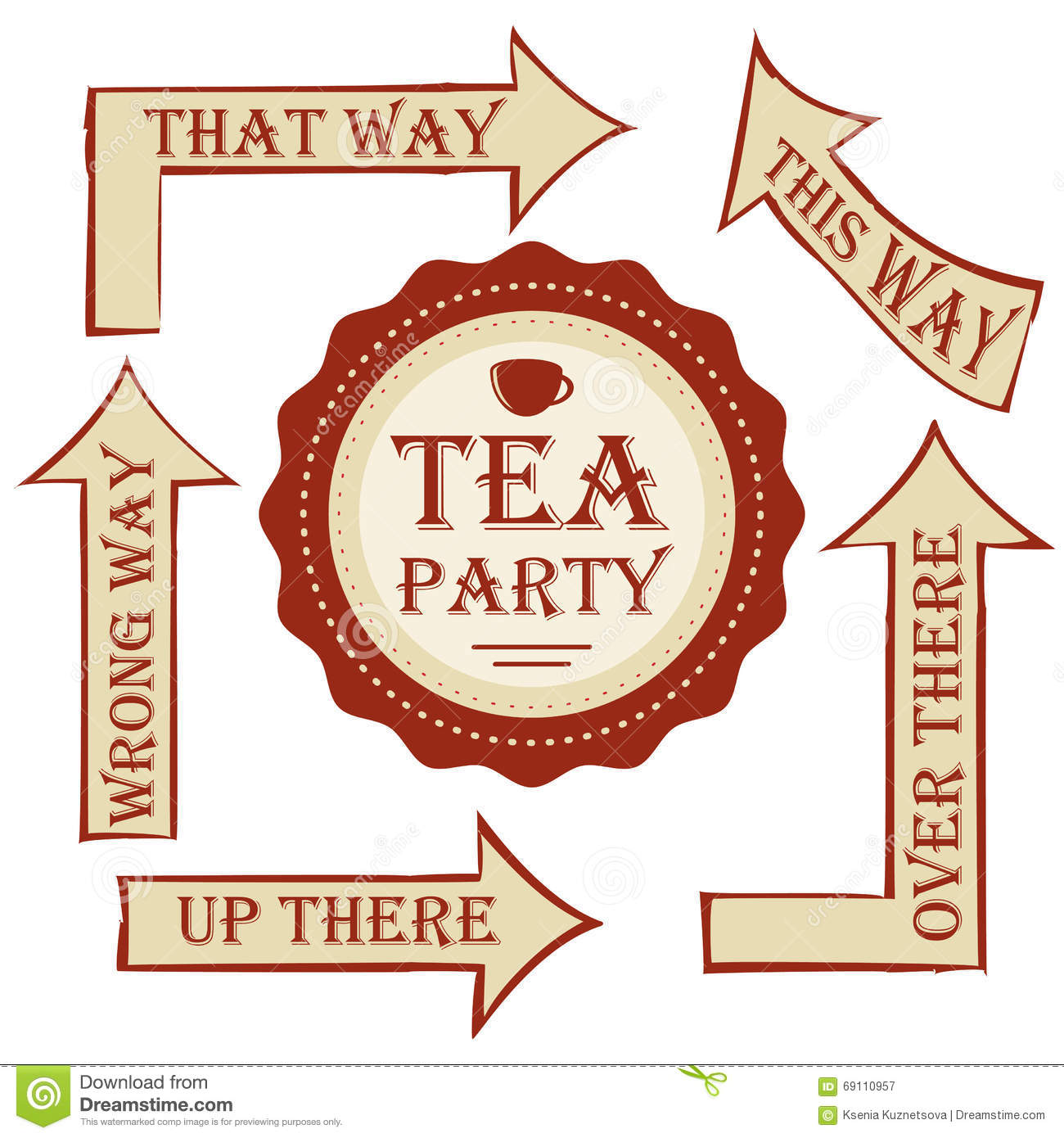 Tea party package. vector set signpost with sticker. decorate wedding or birthday party in style Alice in Wonderland