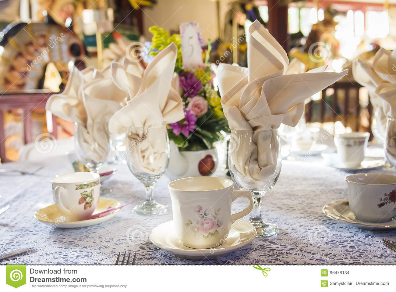 Tea Party Place Setting For Wedding Reception Tables Stock Photo