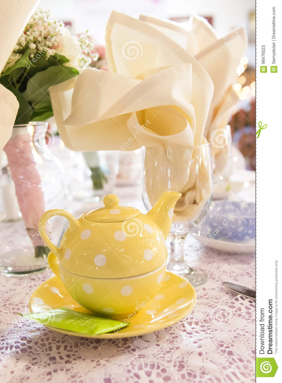 Tea Party Place Setting For Wedding Reception Tables Stock Image