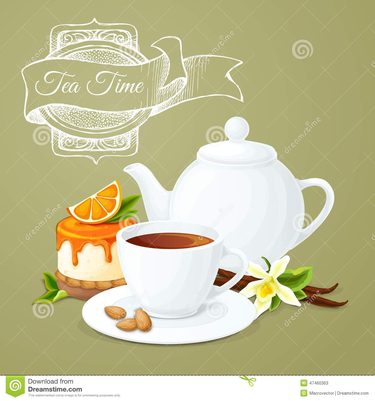 Tea party poster with cup pot orange dessert and badge vector ...