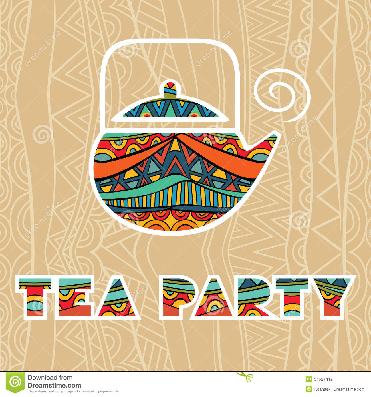 Fancy Coffee Cups Tea Party Poster Stock Vector Image 51627412