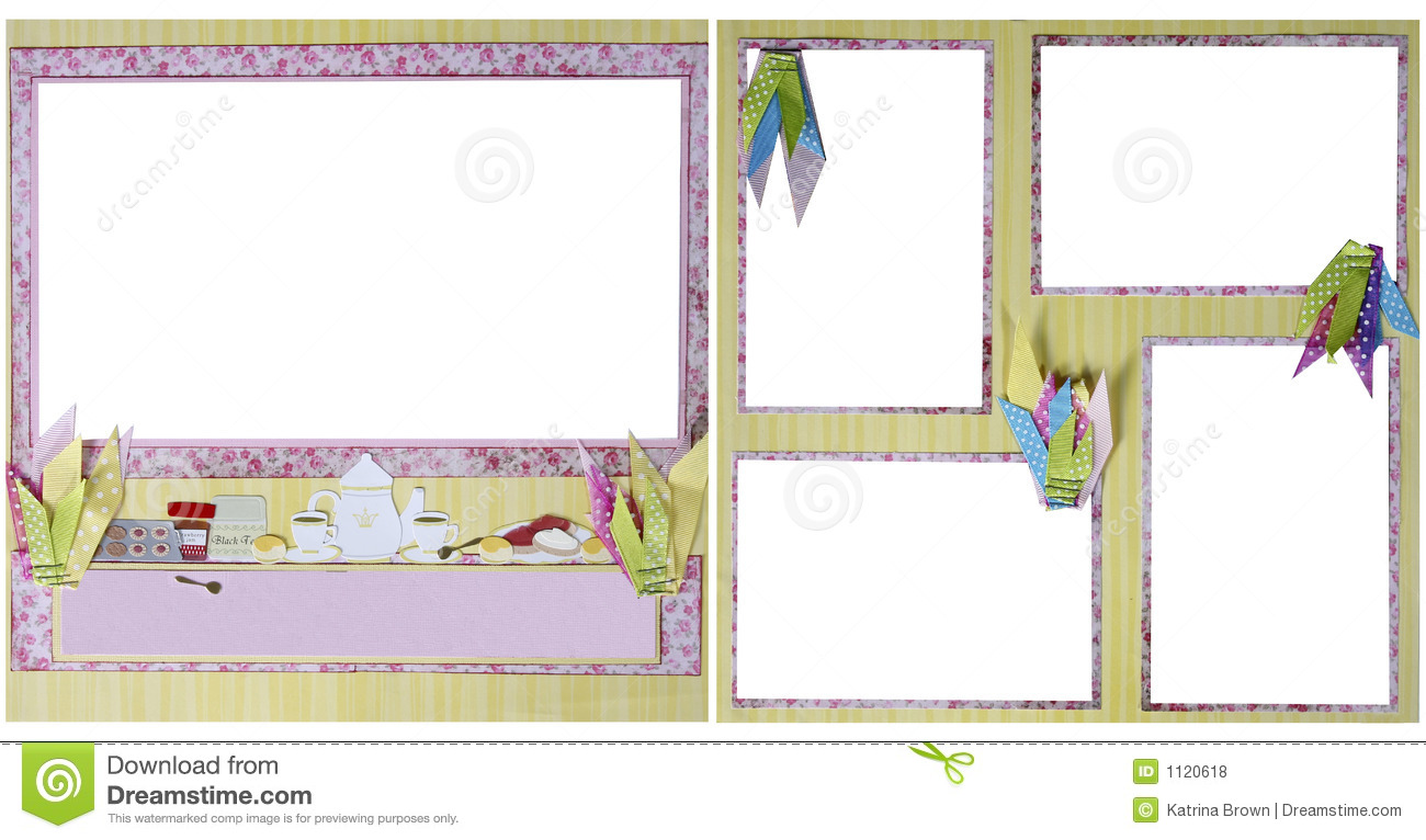Tea party scrapbook frame template stock illustration for Templates for scrapbooking to print