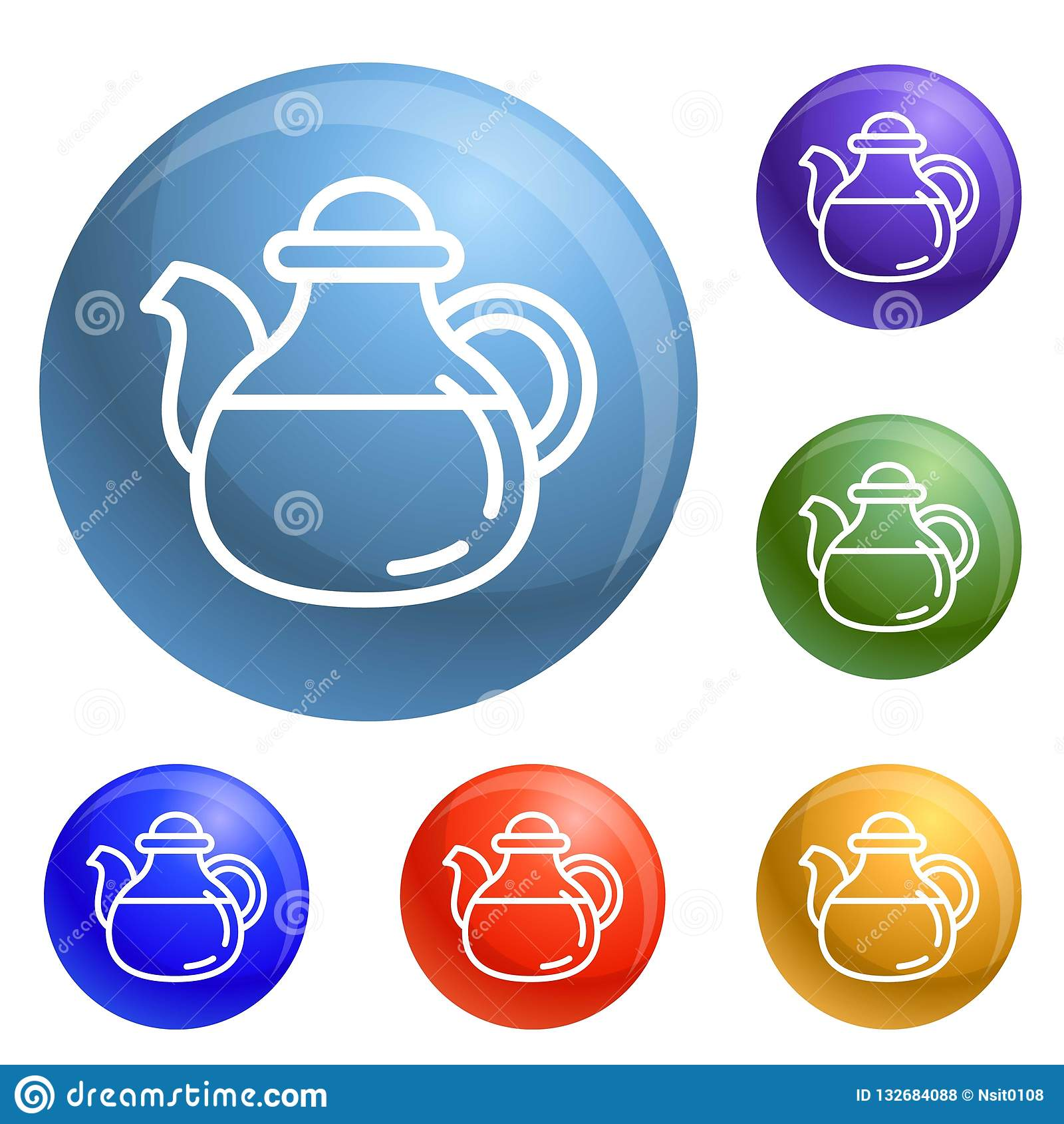 Tea pot icons set vector stock vector. Illustration of ...