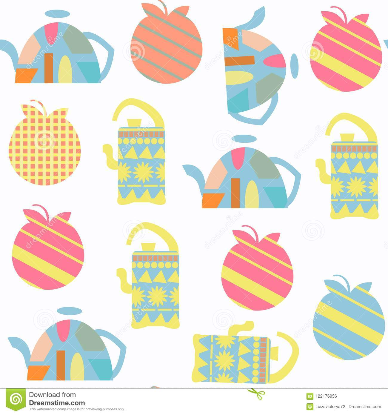 Tea Pot Seamless Pattern Vector. It Is Located In Swatch ...