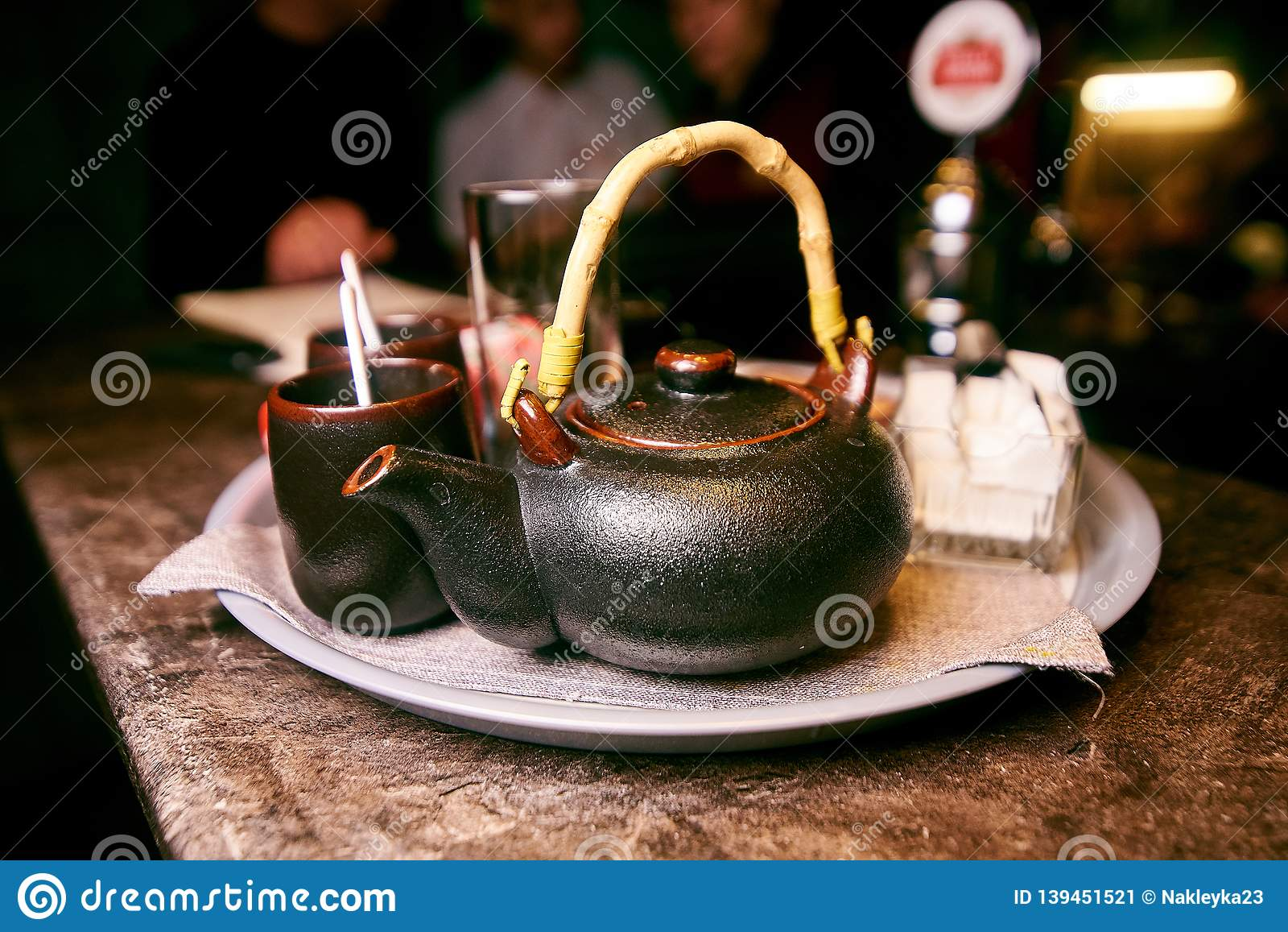 tea set brown with mugs and sugar
