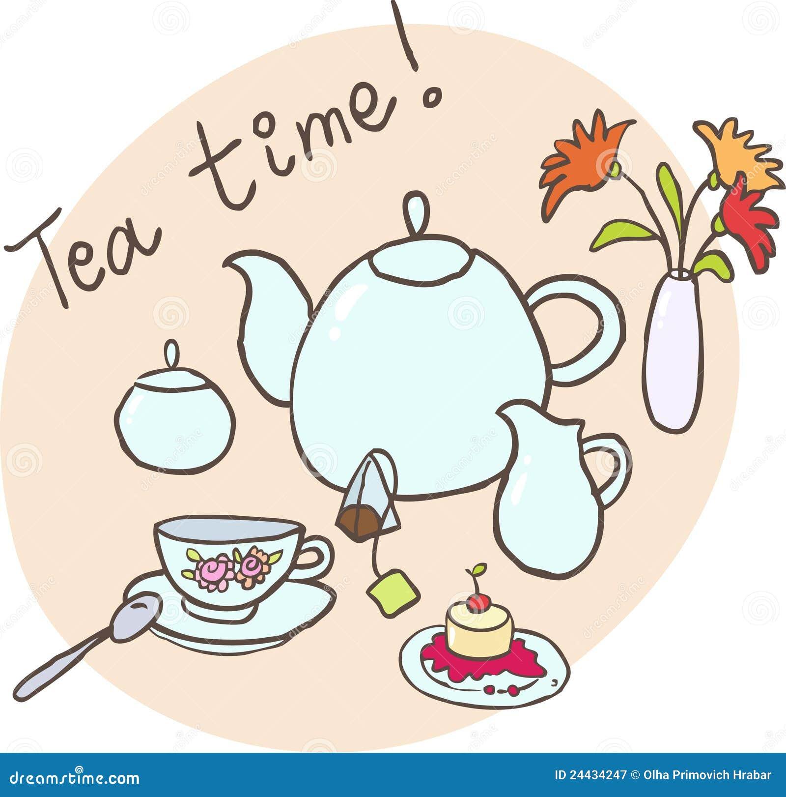 Table layout for tea: a teapot, a cup, a milk-jug, a tea bag, a vase ...